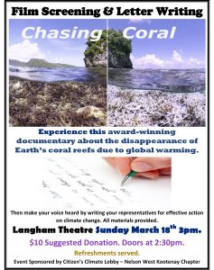 CHASING CORAL Film Screening & Letter Writing @ Langham Cultural Society | Kaslo | British Columbia | Canada